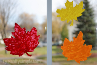 Puffy Paint Window Cling Leaves