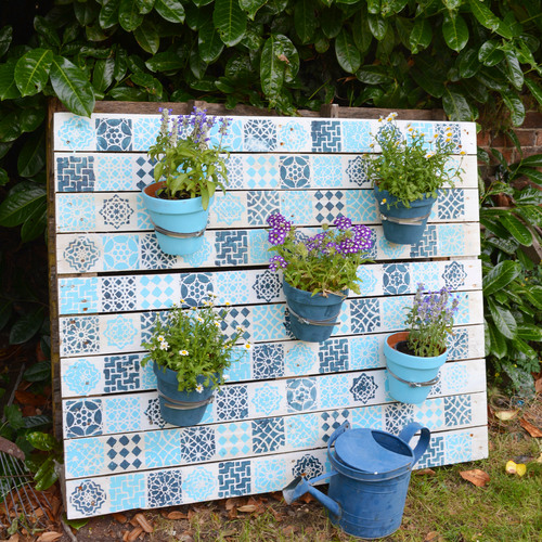 Upcycled Moroccan Stenciled Pallet Planter