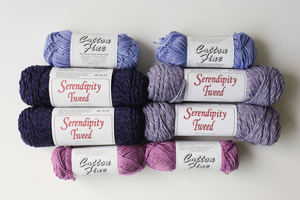 Majestic Orchid and Whispering Periwinkle Serendipity Tweed Yarn Giveaway