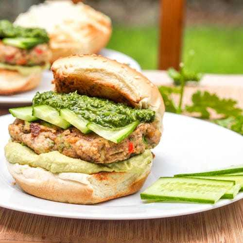 Veggie Burgers with Pesto and Hummus