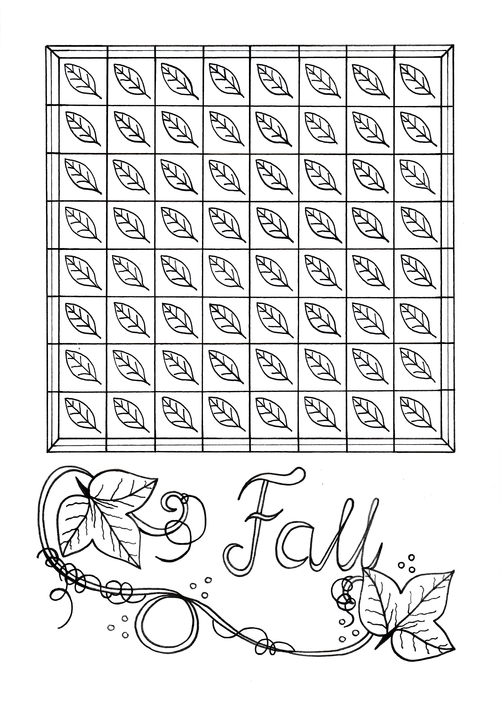 Mindless Fall Leaves Adult Coloring Page