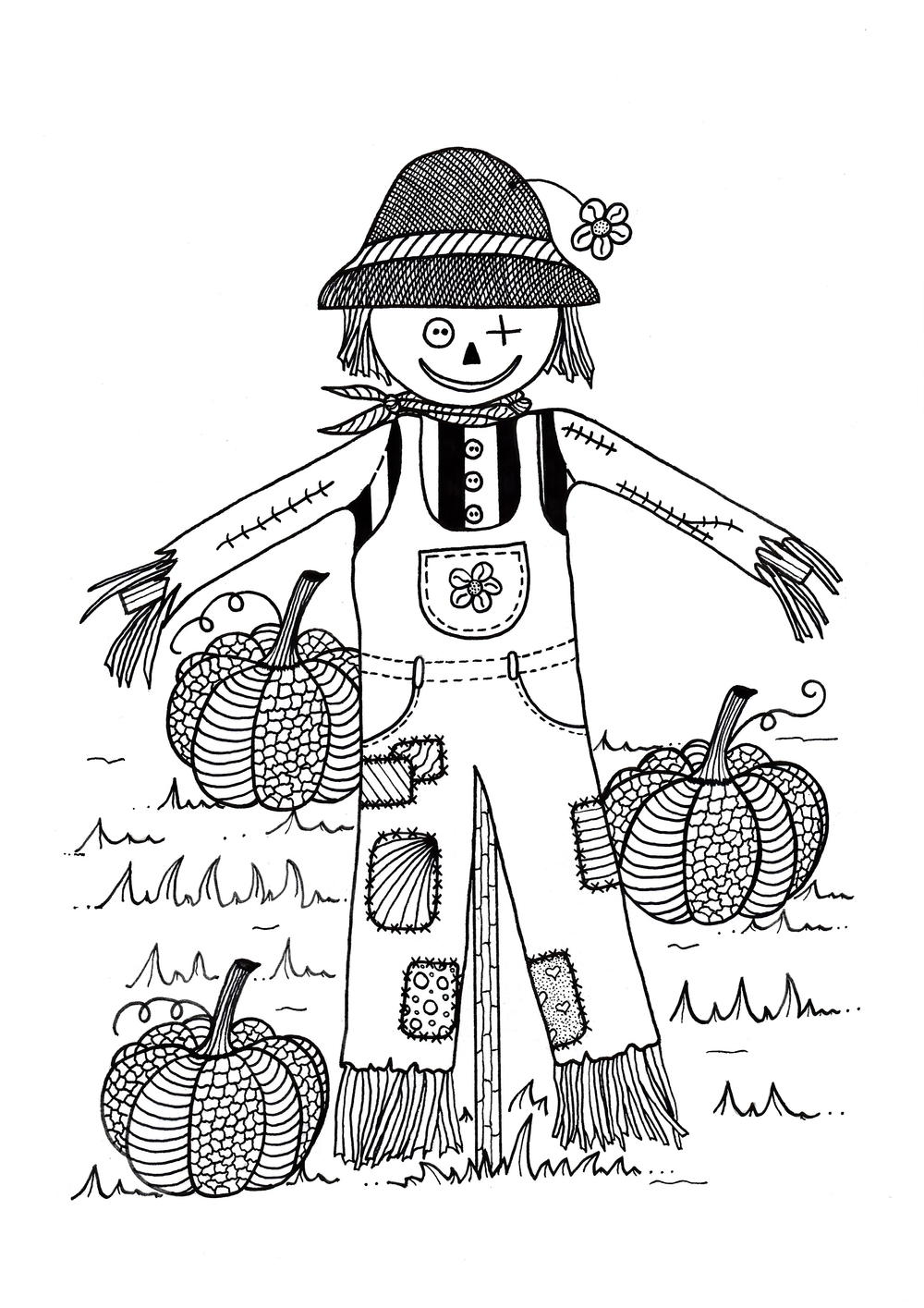 Scarecrow in Pumpkin Field Adult Coloring Page