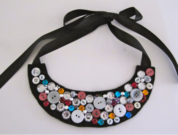 Bead and Button Bib Necklace