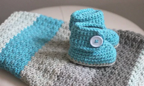 Take the Cake Baby Afghan and Booties Pattern