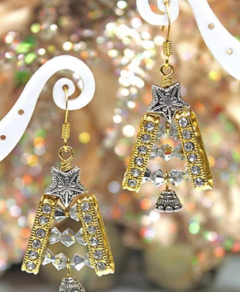 Glitzy Gold Christmas Tree Earrings