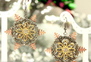 Mixed Metal Snowflake Earrings