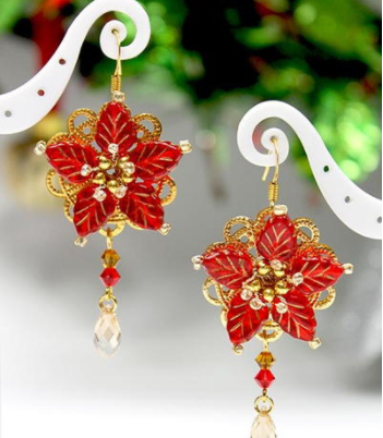 Poinsettia Magic Earrings