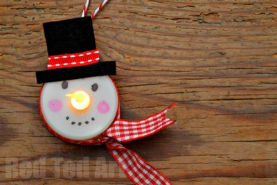 Crazy-Adorable Tealight Snowman Ornament