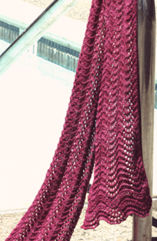 Feather Fan Lace Knit Scarf