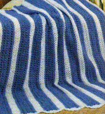 Blue Strip Afghan Allfreecrochetafghanpatterns Com