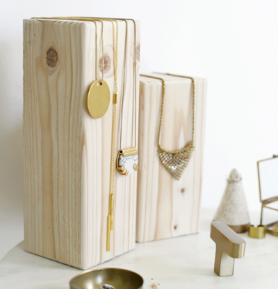 Wooden Block Necklace Holder