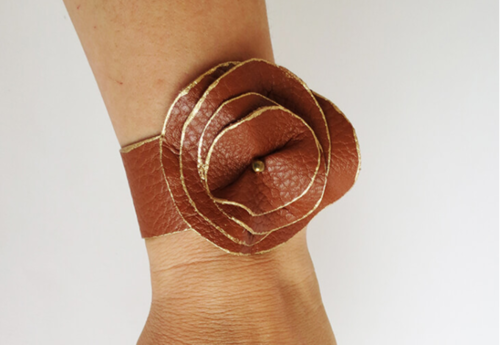 Brown Leather Flower Cuff