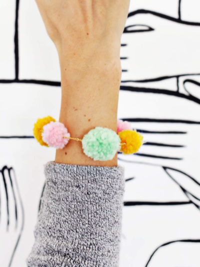 Girly DIY Pom-Pom Bracelet