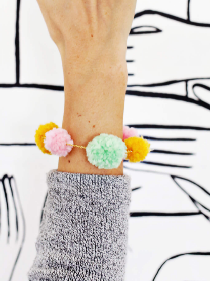 Girly DIY Pom Pom Bracelet