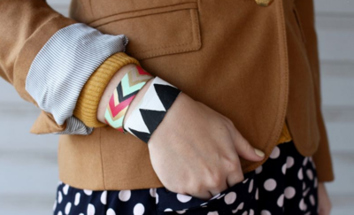 Painted Chevron Leather Bracelet