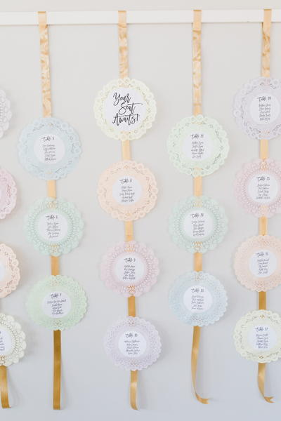 Lacy Doily Wedding Seating Chart