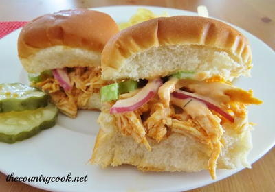 Buffalo Chicken Sliders with Celery Slaw