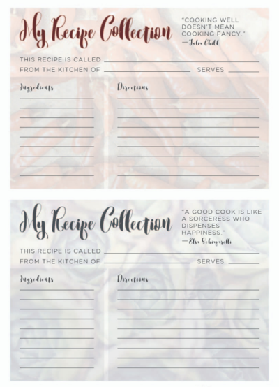 Printable Recipe Cards for Winter