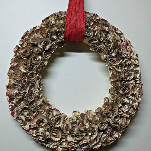 Spiral Rose Book Page Wreath