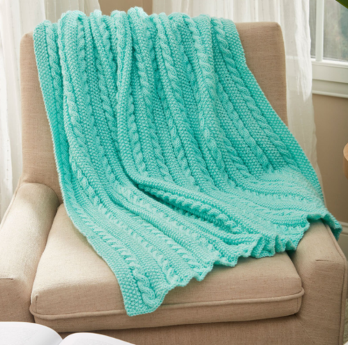 f6d8669bbc Easy Cable Knit Blanket Pattern