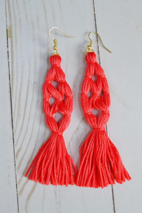 Coral Tassel Earrings