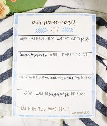 Home Goals Free Printable Worksheet