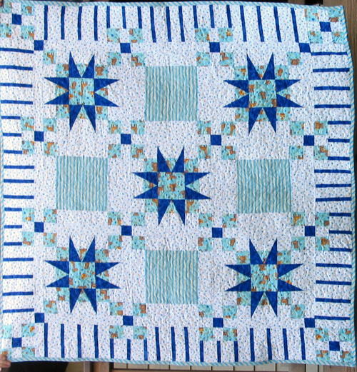 Blue Stars and Stripes Baby Quilt