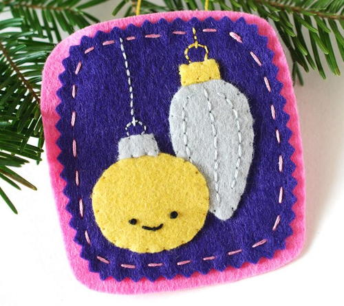 Silver and Gold Felt Christmas Ornament