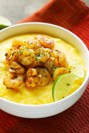Creamy Polenta with Chili Lime Shrimp