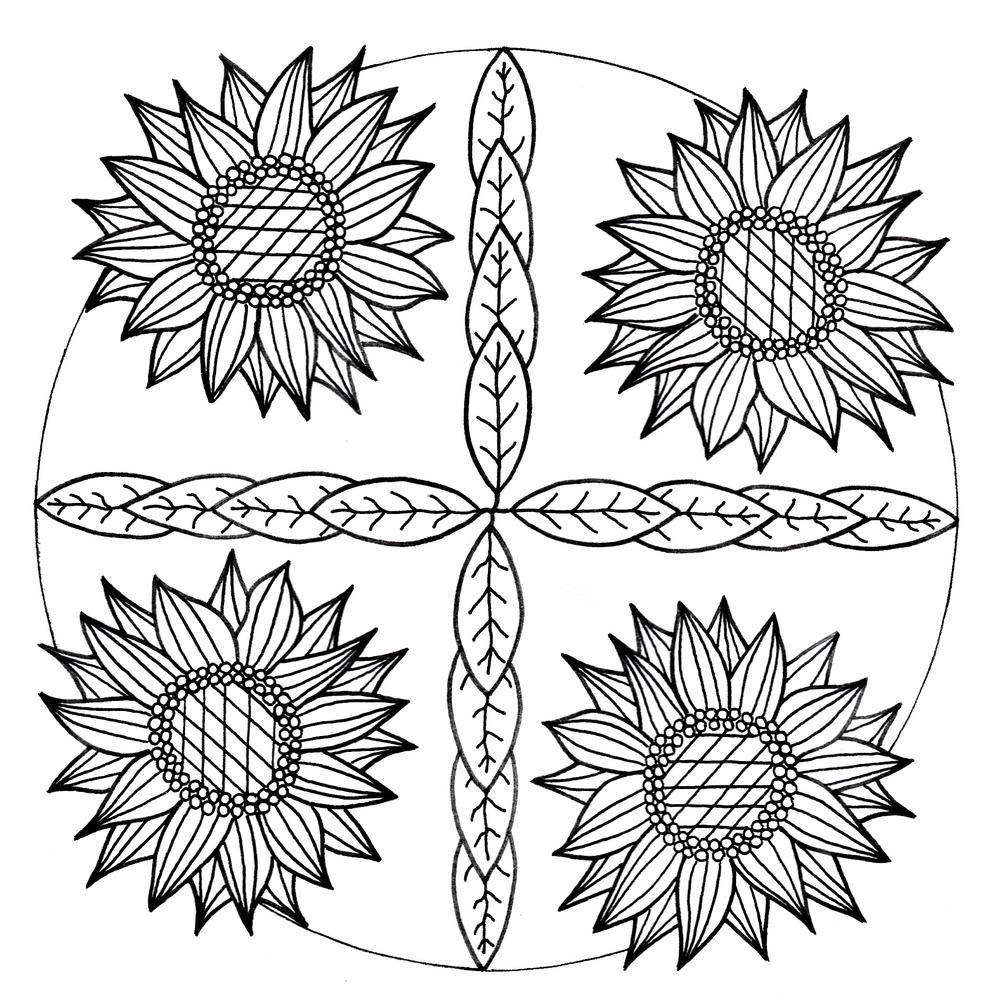 mandala inspired sunflower coloring page favecrafts com