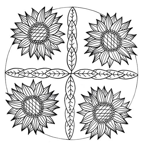 Mandala Inspired Sunflower Adult Coloring Page