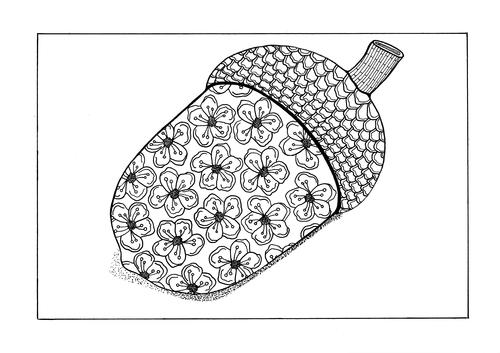 Fall Acorn Adult Coloring Page