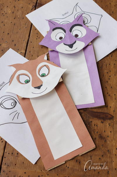 Printable Squirrel Paper Bag Puppets