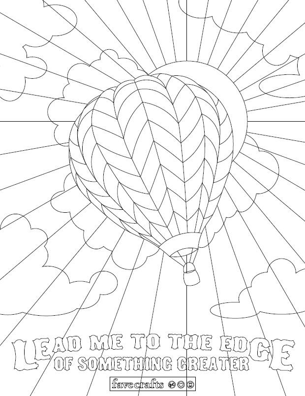 Whimsical Hot Air Balloon Coloring Page FaveCrafts