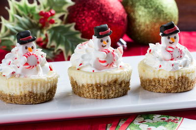 Mini Snowman Cheesecakes