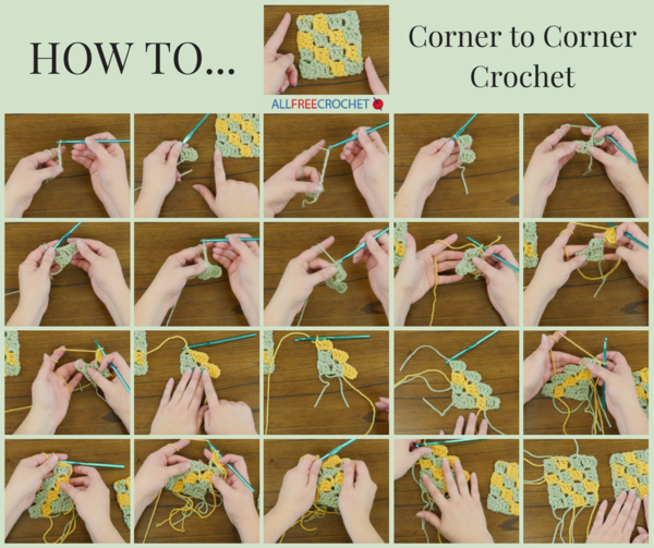 Image shows a collage of step out images with the visual steps of how to corner to corner crochet.