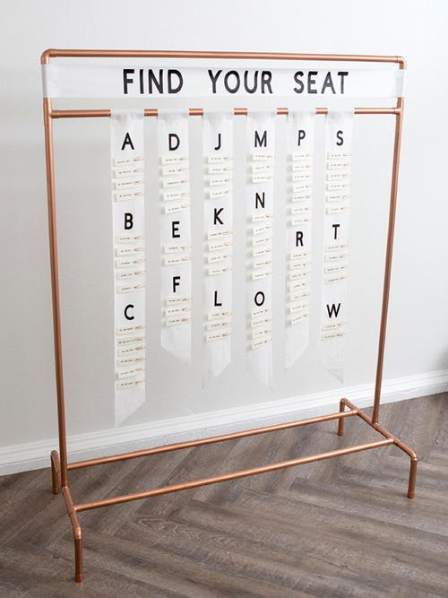Copper Pipe Escort Card Display