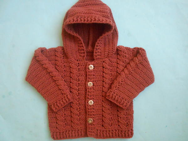 Baby Crochet Cabled Cardigan Sweater