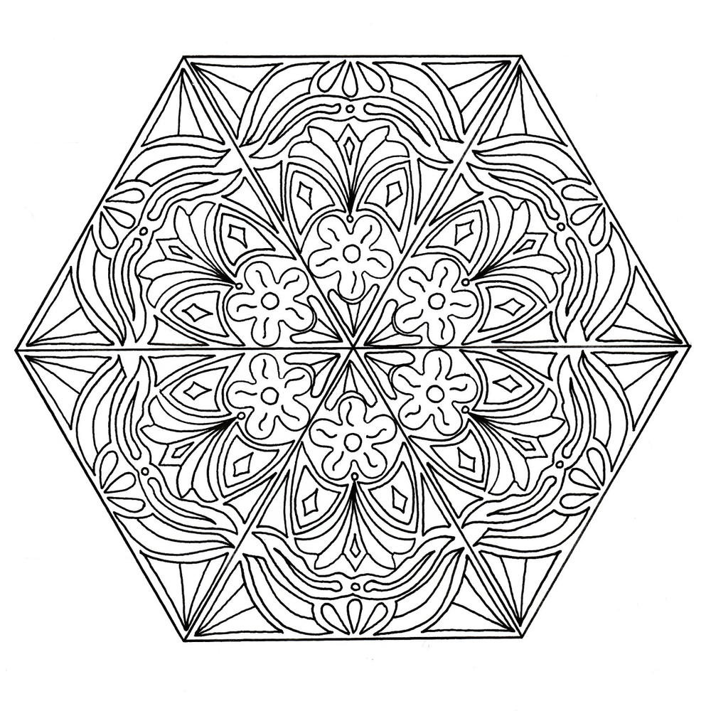mandala happiness coloring page favecrafts com