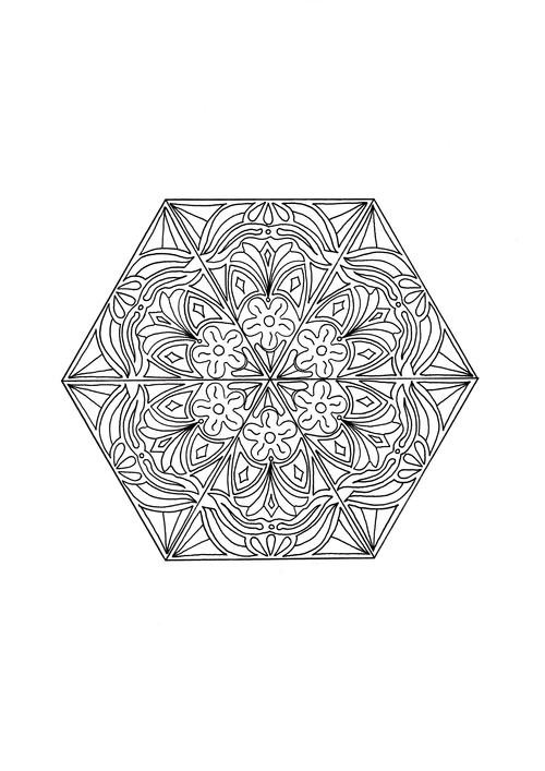 Mandala Happiness Adult Coloring Page 500 ID