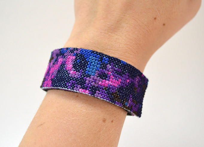 Galaxy Cross Stitch Cuff