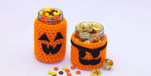 Halloween Crochet Jar Covers