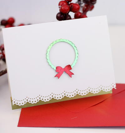 Elegant and Simple Wreath Christmas Card