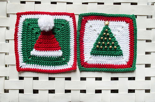 Christmas Tree and Hat Granny Squares