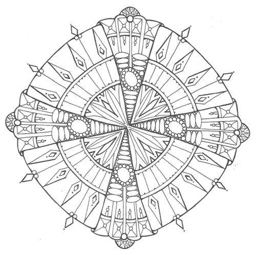 Diamonds and Ice Mandala Coloring Page 500 ID