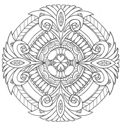 Diamonds and Ice Mandala Coloring Page FaveCrafts