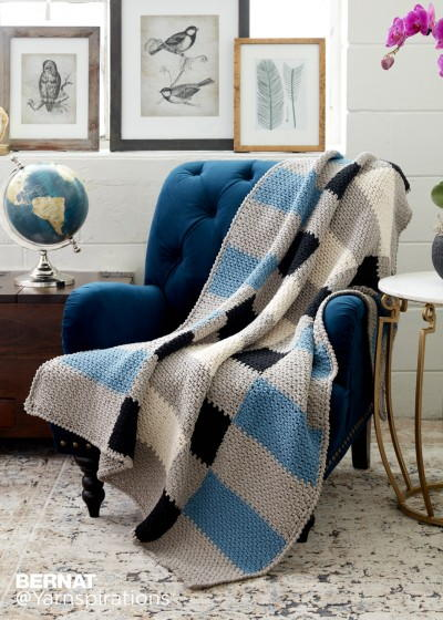 Warm Crochet Plaid Blanket