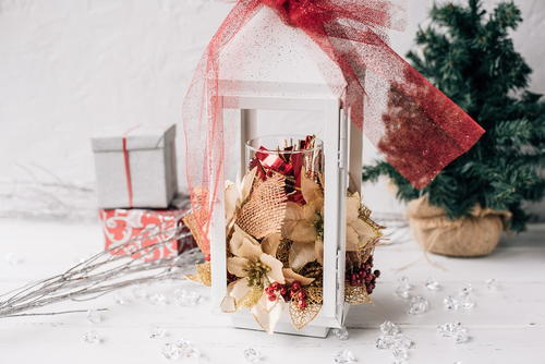 Homemade Floral Christmas Lantern Decoration