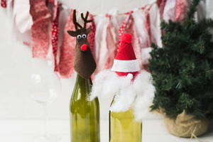 Santa and Reindeer Wine Bottle Toppers