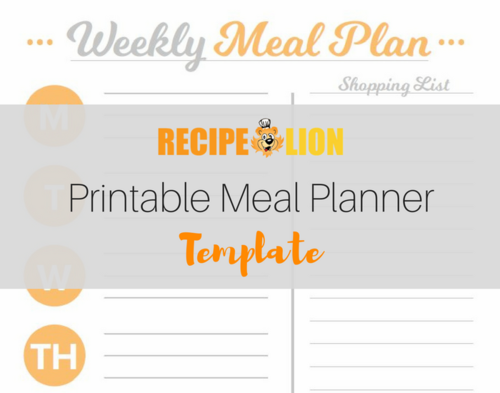 Printable Meal Planner Template Recipelion Com